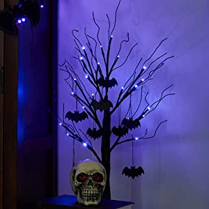 Padoo 2FT Halloween Black Tree Battery Powered with 24 Purple Lights and 8 Bats Ornaments Light Up Bonsai Tree for Halloween Indoor Tabletop Decoration