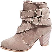 Chaussures Femme Femmes Occasionnels Boucle Sangle Chaussures Martan Boots Suede Bottines Bottines à Talons Hauts