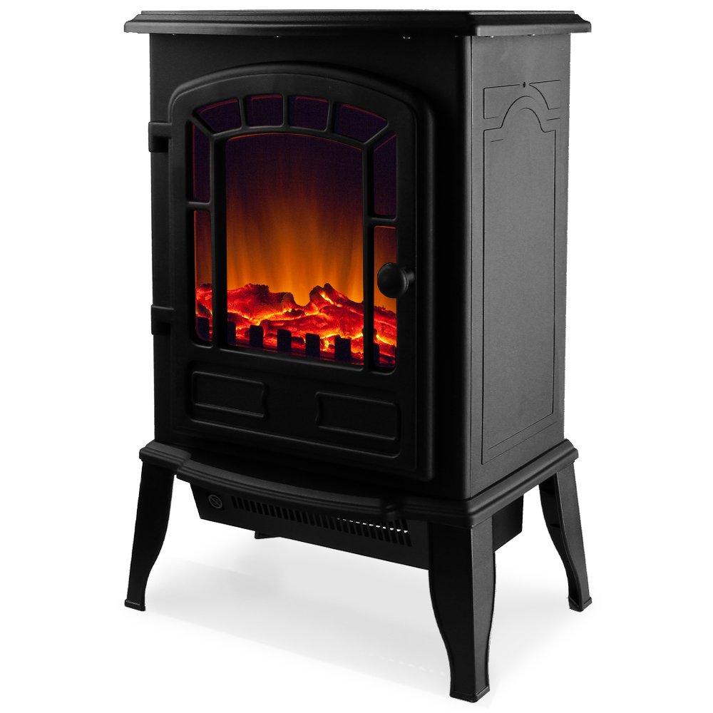 Elektro-Kamin mit Heizung und Kaminfeuer-Effekt 2000W schwarz/weiß Flammeneffekt Flammenambiente Ofen Deuba