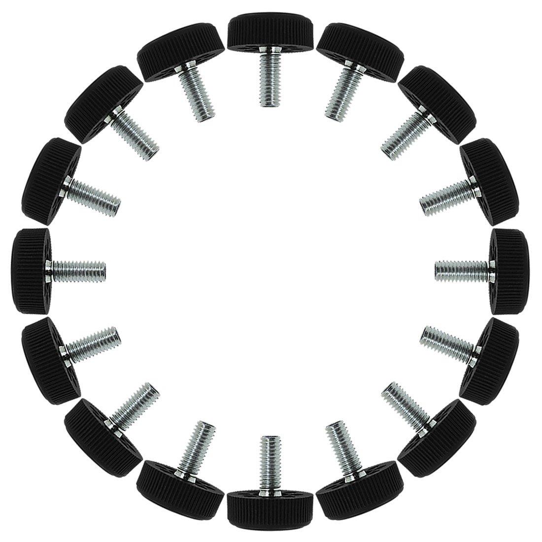 uxcell M8 x 20 x 30mm Screw on Furniture Glide Leveling Feet Floor Protector Adjustable Leveler for Table Desk Leg 16 Pack