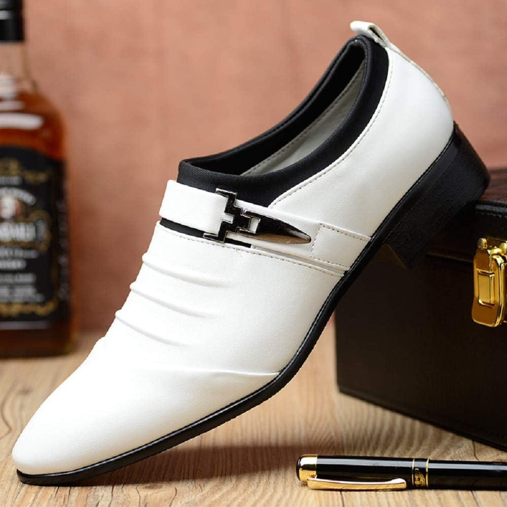 Nouveau Hommes Chaussures Formel Mariage Slip On Mocassins Noir Blanc Bleu Marron Tony