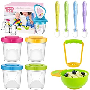 Soft-Tip Silicone Baby Spoons (4 Pack), Food Feeder Baby Fresh Fruit Feeder with 3 Sized Silicone Pacifiers, Baby Food Storage Containers Set of 4 (7 oz) with Mash and Serve Bowl, Baby Feeding Set