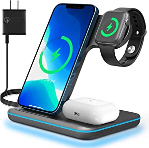 3 in 1 Wireless Charging Station for Apple iPhone Watch Airpods,Any warphone 15W Fast Wireless Charger for Apple iWatch 6/SE/5/4/3/2/1,AirPods 3/2, iPhone 11/12 Series/XS MAX/XR/XS/X/8/8 Plus