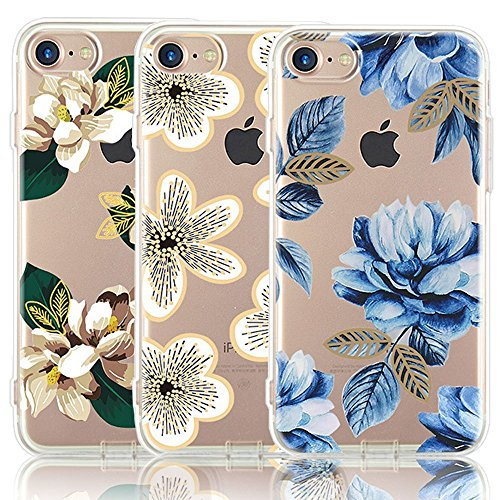 iPhone 7 Case, iPhone 8 Case, [3-Pack] CarterLily [Shock Absorption] Watercolor Flowers Floral Pattern Soft Clear Flexible TPU Back Case for iPhone 7 iPhone 8 4.7'' - Blue Flowers