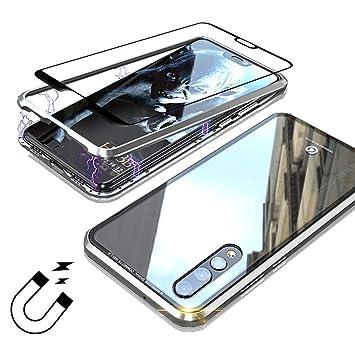 Funda Xiaomi Mi 9,[+1 Unidades Vidrio Templado Protector de Pantalla ] Adsorcion magnetica Tech Funda Carcasa Metal Bumper Ultra Delgado Transparente ...
