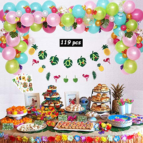 Leyzan Hawaiian Party Decorations, Premium Luau Party Supplies, Aloha/Flamingo Pineapple Banner, Leaves, Hibiscus Flowers, Balloon Garland, Cocktail Umbrellas, Tattoos for Tropical Birthday Party
