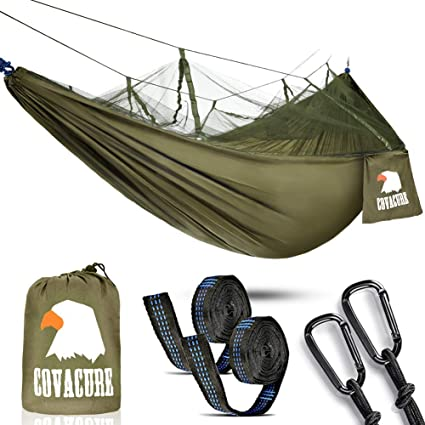 3b000a942e2 Camping Hammock with Mosquito Net - 2 Person Outdoor Travel Hammock for Camping  Hiking Backpacking  Amazon.co.uk  Sports   Outdoors