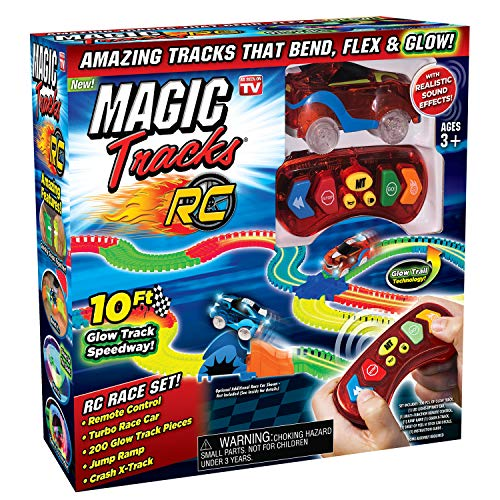 (Ontel Magic Tracks RC with Remote Control Turbo Race Cars and 10 ft of Flexible, Bendable Glow in the Dark Racetrack, As Seen on TV)