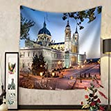 Niasjnfu Chen Custom tapestry Madrid Spain at La Almudena Cathedral and the Royal Palace. - Fabric Wall Tapestry Home Decor