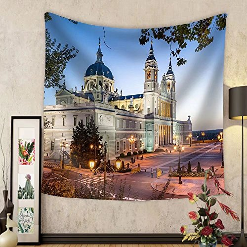 Niasjnfu Chen Custom tapestry Madrid Spain at La Almudena Cathedral and the Royal Palace. - Fabric Wall Tapestry Home Decor by Niasjnfu Chen