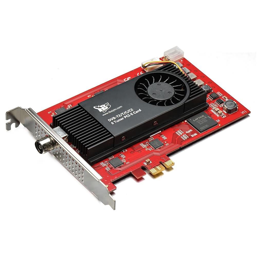 oder Kabel-TV-Karte TBS 6209 DVB-T2//C2//T//C//ISDB-T Octa-Tuner PCIe Terrestrische