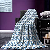 Anhuthree Digital Printing Blanket Abstract Flower of Life Traditional Alchemy Disc Cosmos Meditation Ethnic Pattern Summer Quilt Comforter 80''x60'' Light Blue White