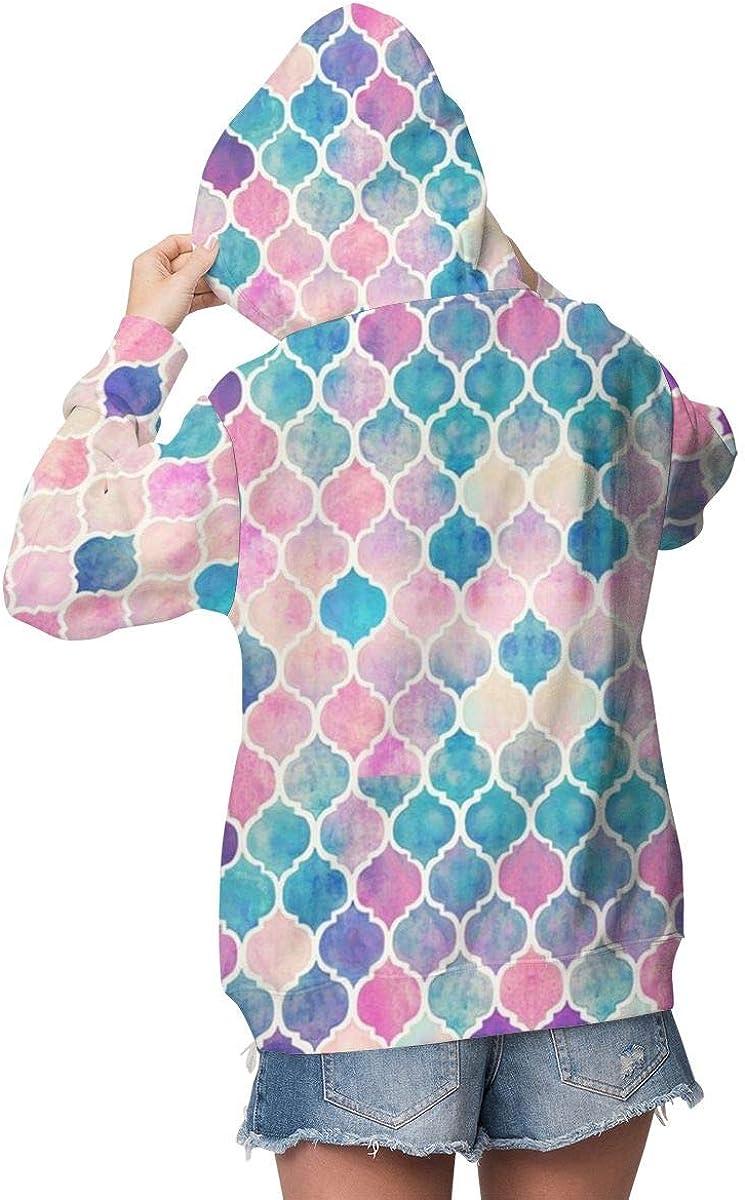 Melinda Perrodin Rainbow Pastel Moroccan Sweat-shirt /à capuche pour femme /épais et d/écontract/é en velours de haute qualit/é
