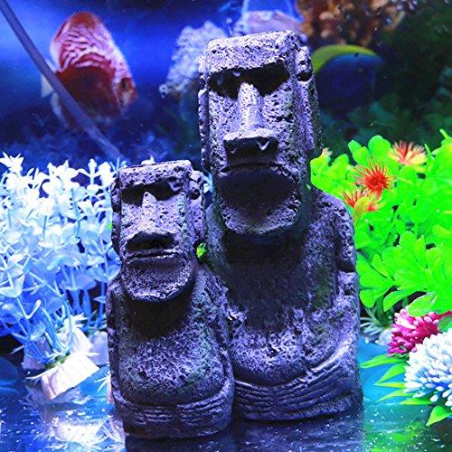 Ancient Easter Island Home Ornament Stone Resin Crafts Antique Roman Portrait Easter Island Stone Head Aquarium Ornament, Fish Tank Decoration Accessories (S) ()