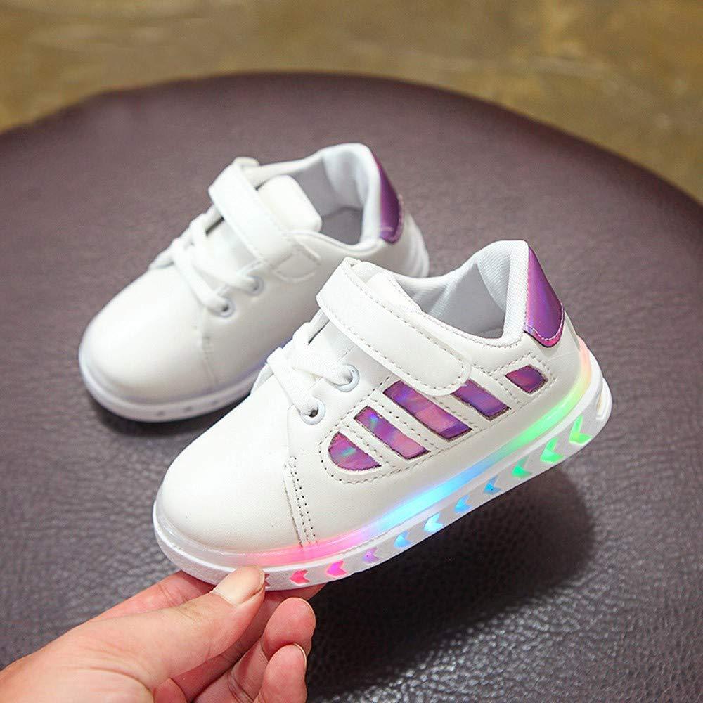 QinMM Kid B/éb/é Filles Gar/çons en Cuir /Étudiant Paillettes Brillant Mode Fl/èche Color/é Belle Chaude Lacet Enfants LED Lumi/ère Lumineuse Sport Sneaker Basket Chaussures