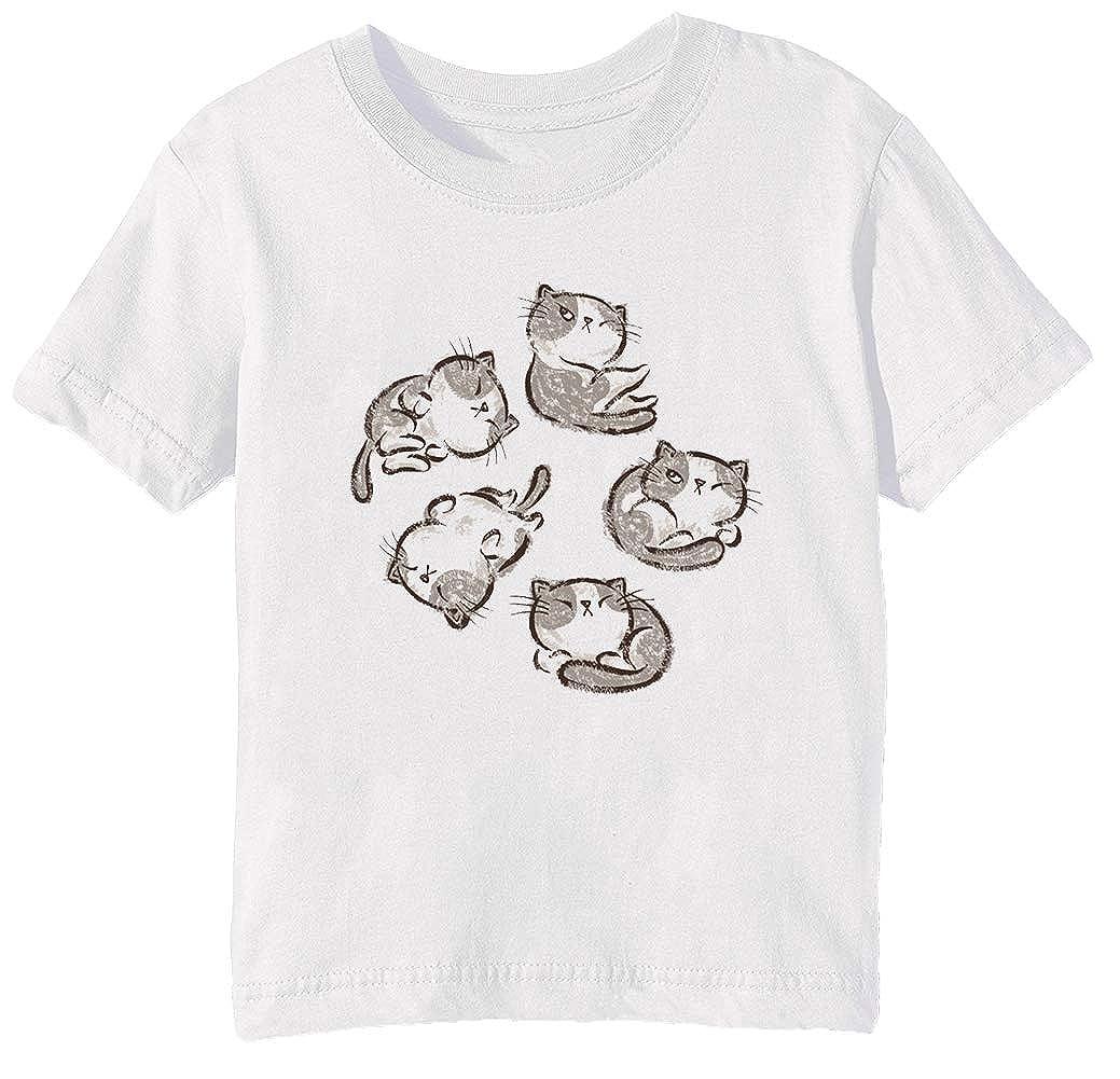 Erido Gattino Gatto rilassare - Gatto Bambini Unisex Ragazzi Ragazze T-Shirt Maglietta Bianco Maniche Corte Tutti Dimensioni Kids Boys Girls White all Sizes KMB-54055