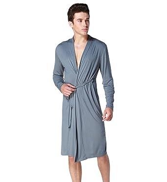 Surenow Men\'s Modal Long Knee Length Dressing Gown Long Sleeve Light ...