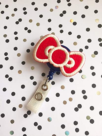 Embroidered Red Ribbon Bow Decorated Retractable Badge Reel ID Holder with  Clip Backing