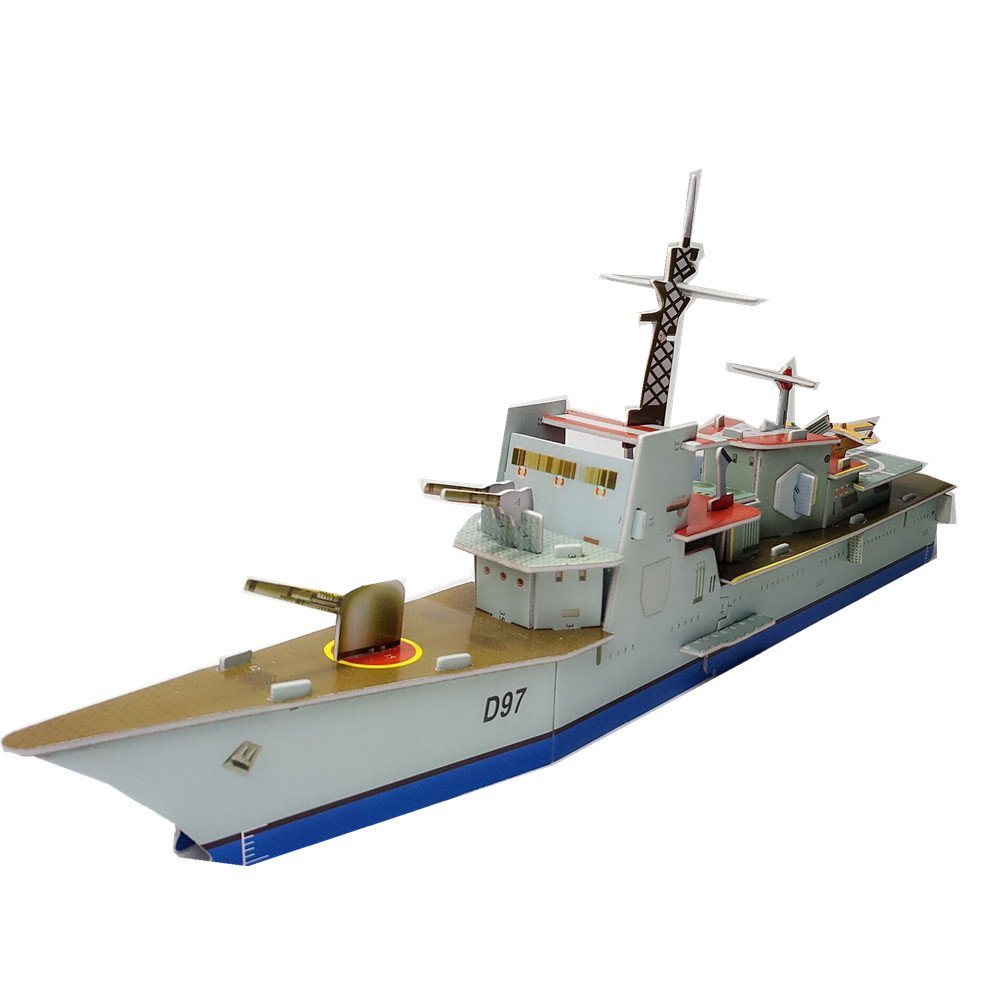 3D Jigsaw Super Puzzle Anatomy Model Blue XY-202 Frigate Escort Cruiser Ship Battleship Military Paper Card Blocks Building Boat Kit Toys Birthday Christmas Gift for Kids Adults Cut Assemble 35PCS