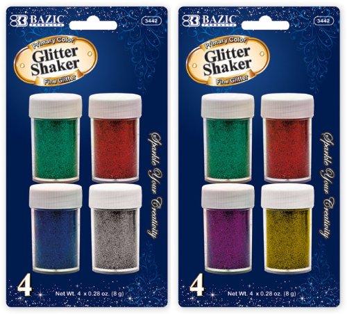 Bazic 8g/0.28 oz. 4 Primary Color Glitter Shaker 144 pcs sku# 1766753MA by Bazic