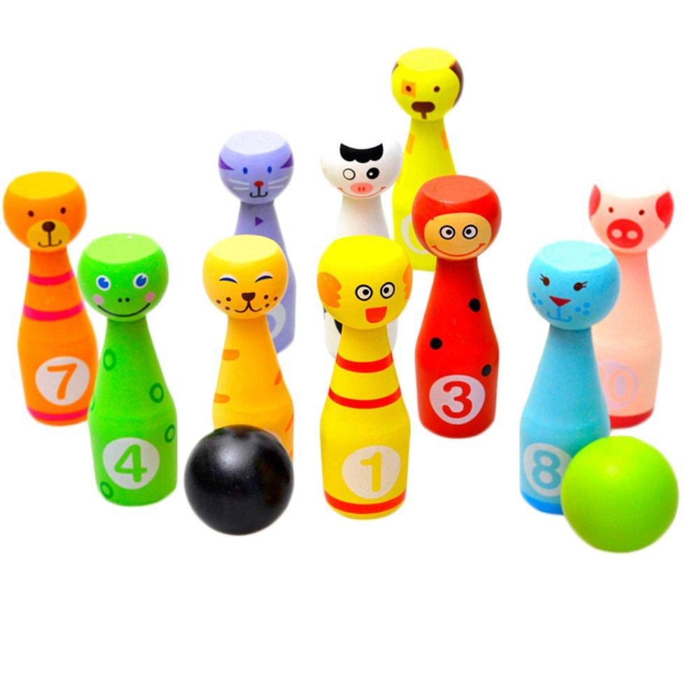 Kylin Express Solid Wood Bowling Ball Set, 2 Balls and 10 Pins, Cute Animals