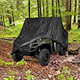 NEH® HEAVY DUTY WATERPROOF SUPERIOR UTV SIDE BY SIDE COVER COVERS FITS UP TO 120'L W/ ROLL CAGE BLACK COLOR ATV COVER RHINO RANGER MULE GATOR PROWLER YAMAHA PROWLER RANCHER FOREMAN FOURTRAX RECON 4x4