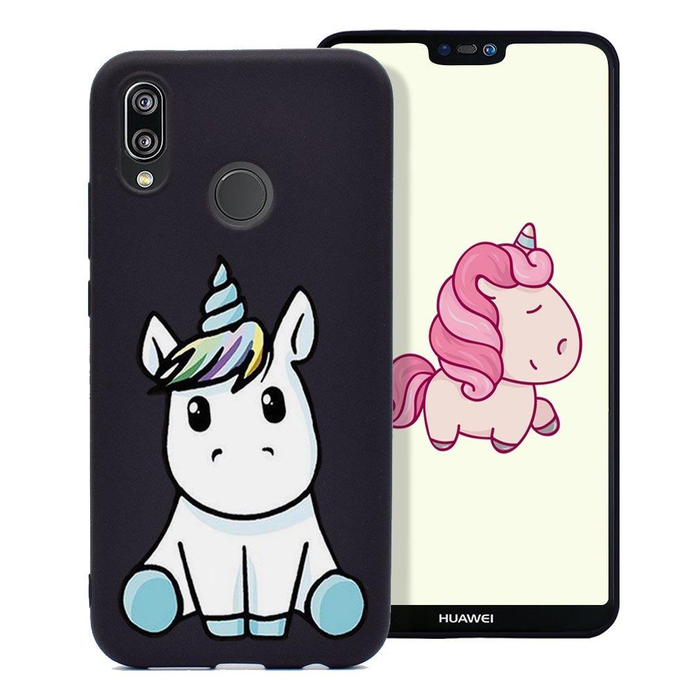 Cover Huawei P20 Lite, Custodia Stampa Unicorno Bello Ultra Sottile Morbido Gomma Silicone TPU Fresco Colore Caramella Tinta Unita Case Protettiva Copertura - Rosa Fine Finet