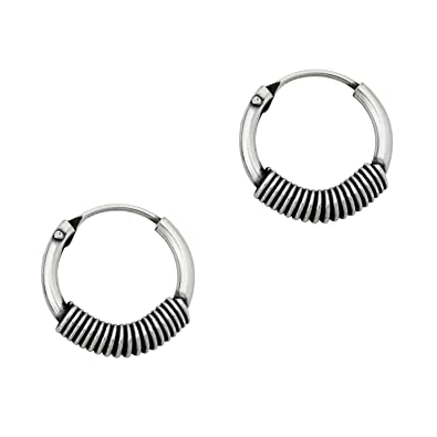 92e5fc4eb Image Unavailable. Image not available for. Color: Sterling Silver Coil  Design Hoop Earrings, 12 MM