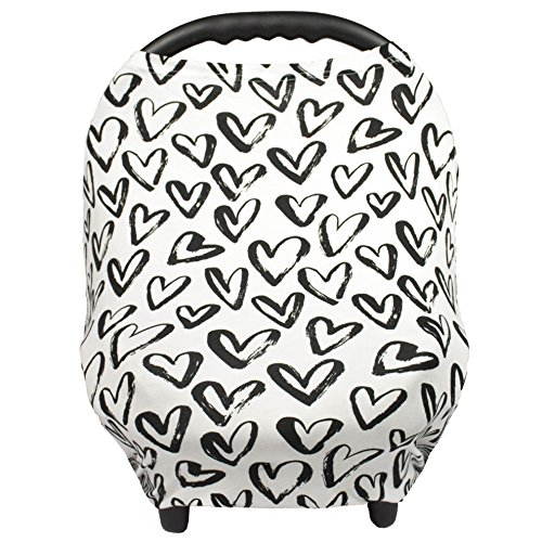Breastfeeding Cover – Nursing Cover scarf - Infant Car Seat Canopy, Shopping Cart, Stroller, Carseat Covers for Girls and Boys - Hearts - (Infant Cover)