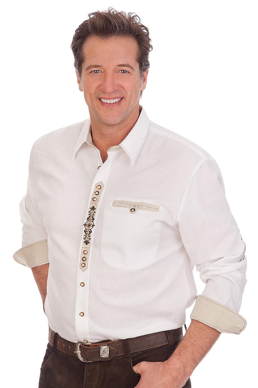 H1544 - Trachtenhemd mit Krempelarm - weiß