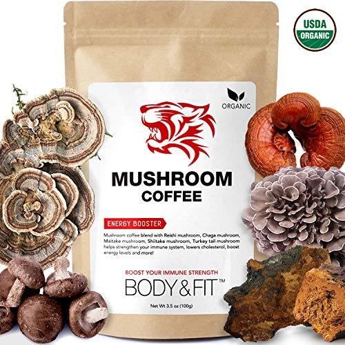 Tiger 5 Mushroom Coffee - Organic Superfood Mushroom Coffee with 100% Arabica, Powerful Natural Ingredients, Antioxidants, Immune System Booster, Vegan, Dairy Free, Non-GMO and Great Taste