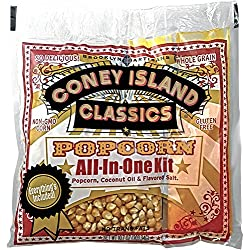 Coney Island Classics Premium Movie Theater Popcorn 8 Ounce Bag All In One Portion Kit With Coconut Oil 24 Pack