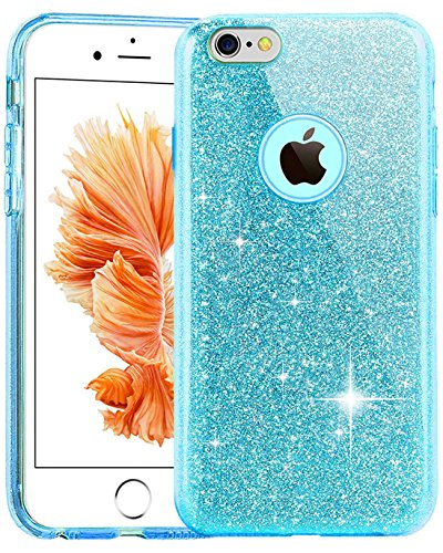 TOZO Case for iPhone 6s SHINY Series [Bling Crystal] Ultra Thin Sparkle Premium 3 Layer Hybrid Semi-transparent Lightweight / Exact Fit / Soft Case for iPhone 6 (2014) / 6s (2015) - 4.7 Blue