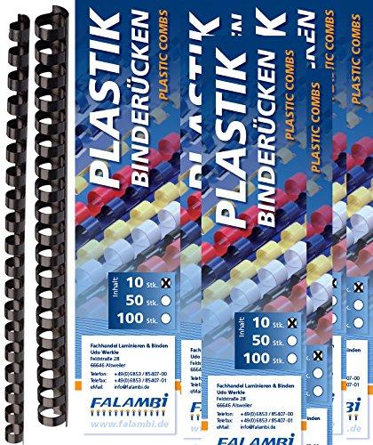 100 Binderücken Sortiment 6 - 19 mm, schwarz FALAMBI