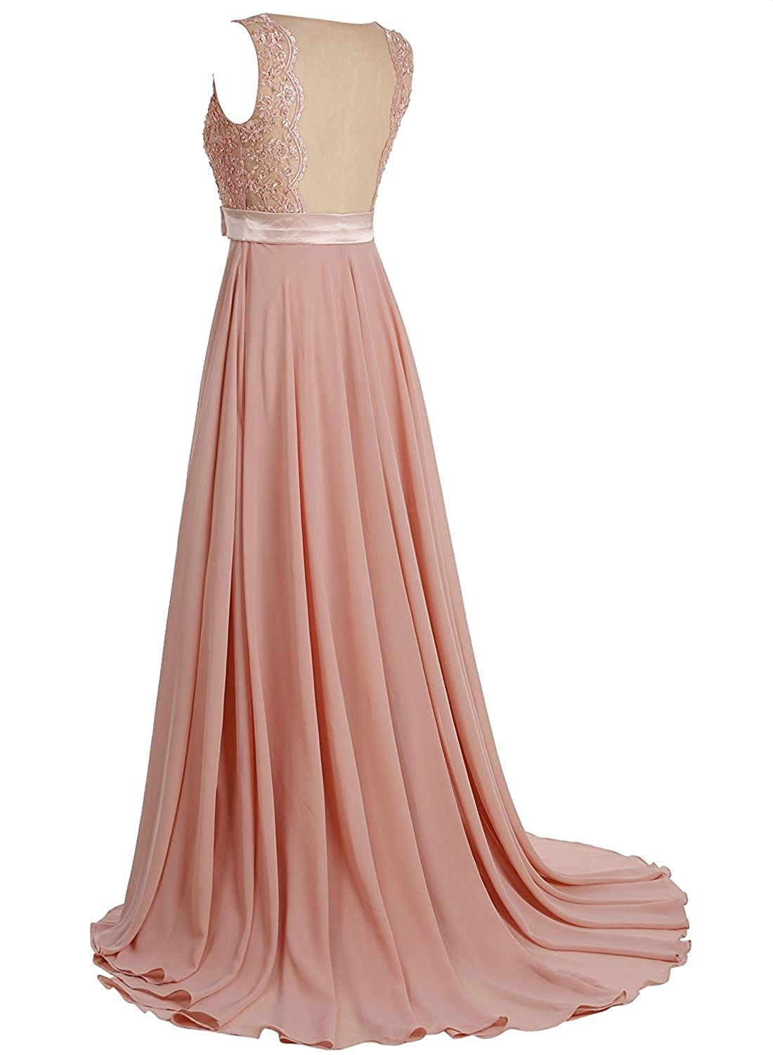 Victoria Prom Elegant Long Prom Gown Lace Bridal Dress with Flowing Chiffon Skirt at Amazon Womens Clothing store: