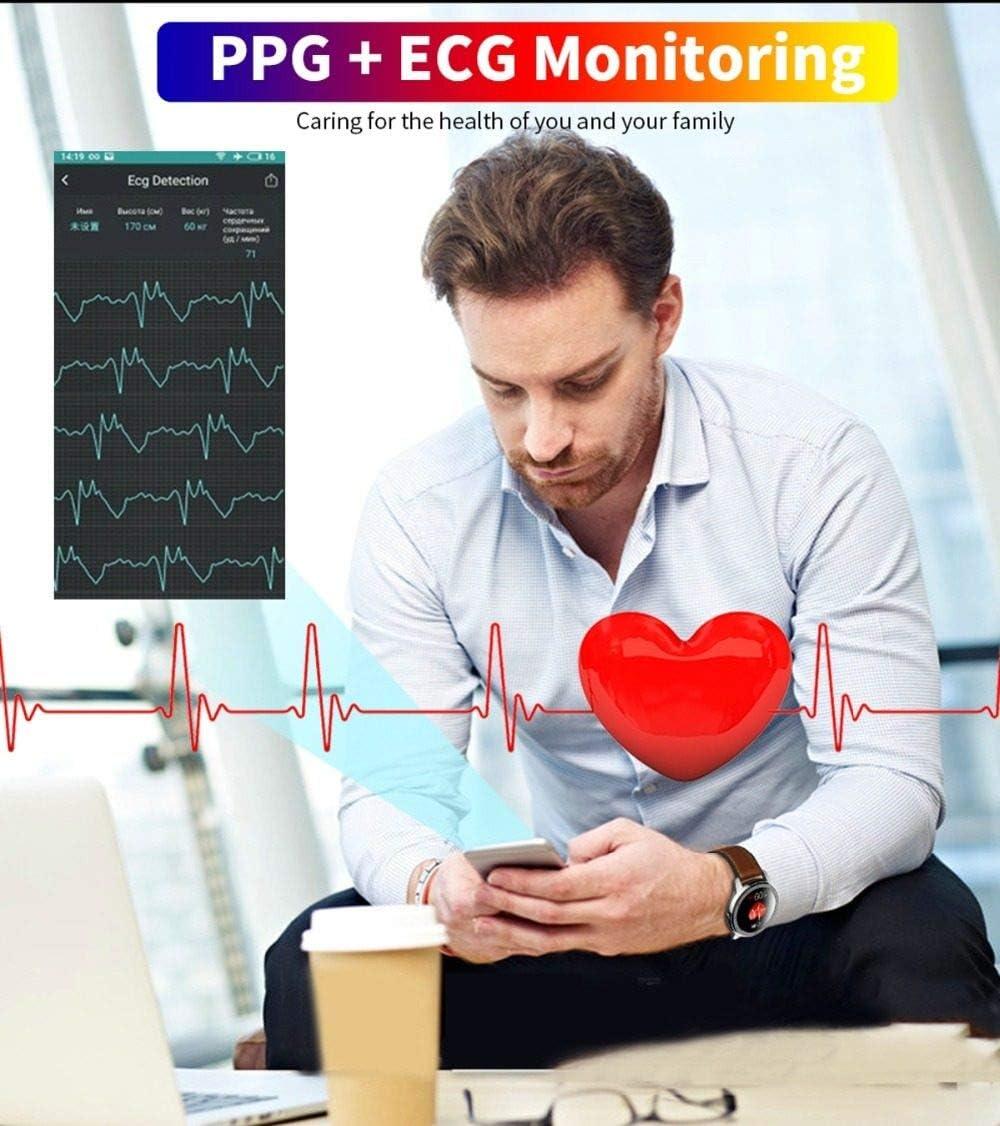 WNFDH Montre Intelligente ELF2 ECG PPG Montre Intelligente Écran Tactile Complet Écran Fréquence Cardiaque Moniteur De Pression Artérielle Étanche Hommes Femmes pour Android argent