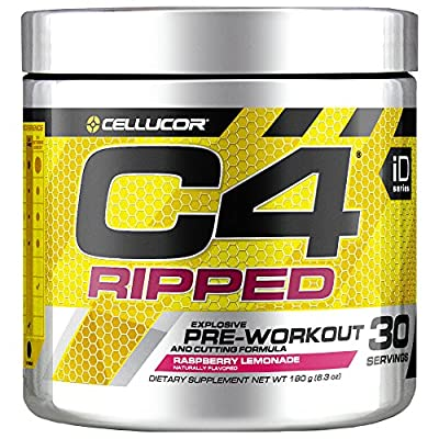 Cellucor C4 Ripped Pre Workout Powder, Thermogenic Metabolism Booster For Men & Women with Green Coffee Bean Extract, Raspberry Lemonade, 30 Servings