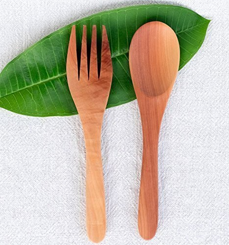 Bali Harvest Handmade Wooden Salad Spoon and Fork | Mahogany Wood | Eco Friendly | Salad Spoon | Stirring Ladle | Vegan Gift