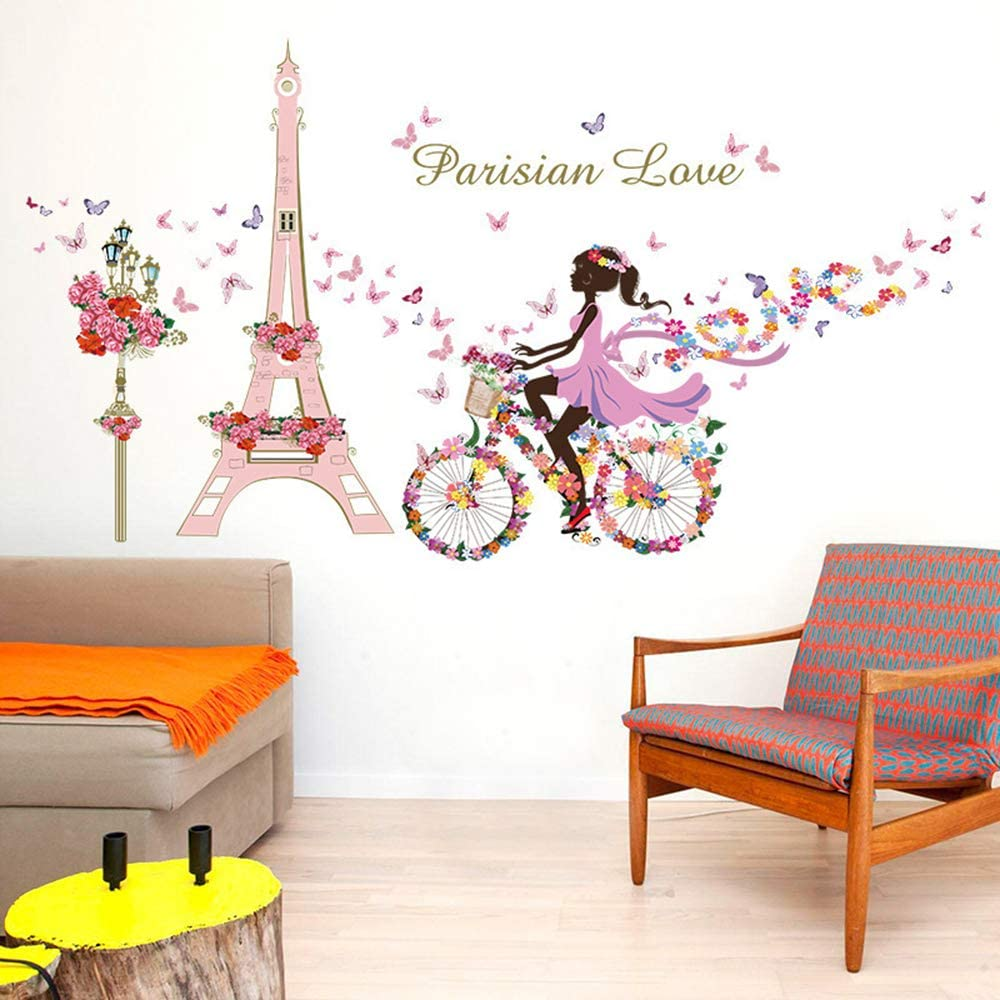 ufengke Adesivi Murali Ragazza Bicicletta Adesivi Muro Fiori Torre Eiffel per Camera da Letto Bambini Soggiorno Asilo Nido Decorazioni Parete