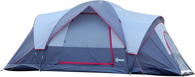 Outsunny Tienda de Campaña Familiar Grande con Bolsa de Transporte y Gancho para Luz de Camping 455x230x180 cm