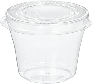 Polar Ice Dessert Cups/Hard Plastic Souffle Beverage Cups with Lids, 5-Ounce, Translucent, 50-Pack