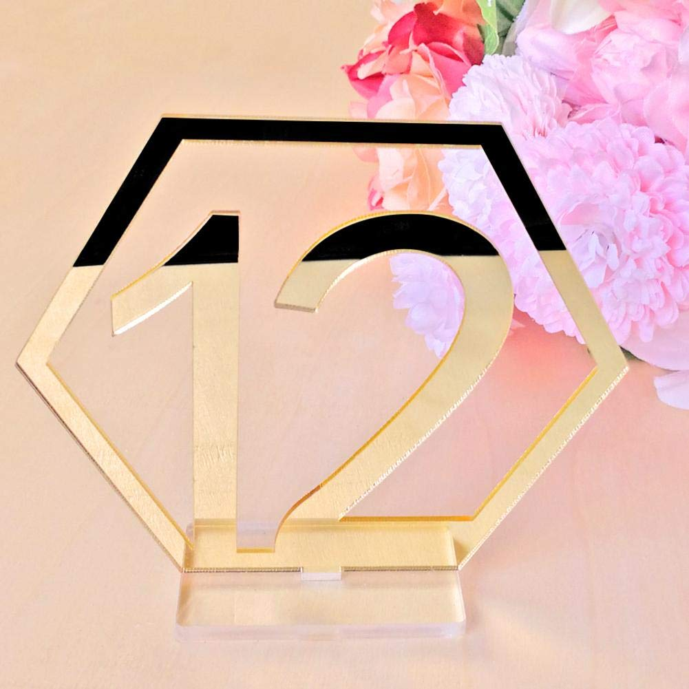 Gold, 1-10 Mikolot Mirror Table Number Acrylic Hexagon Table Number Cards with Base for Wedding Party Reception Table Decorations