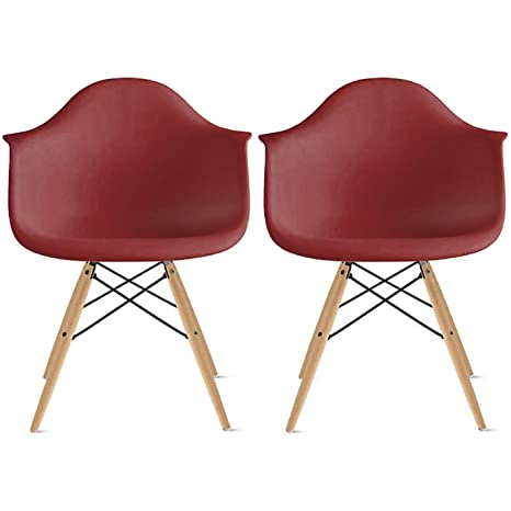 Amazon Com 2xhome Set Of Two 2 Red Plastic Armchair Natural