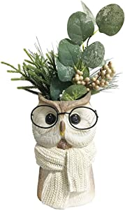 DaycMy Polyresin Statue Figurines Vase Artificial Green Leaves with Glitter Winter Home Decor for Halloween, Christmas Patio Yard Decorations, 8.5 Inch(Plants Included) (Owl)