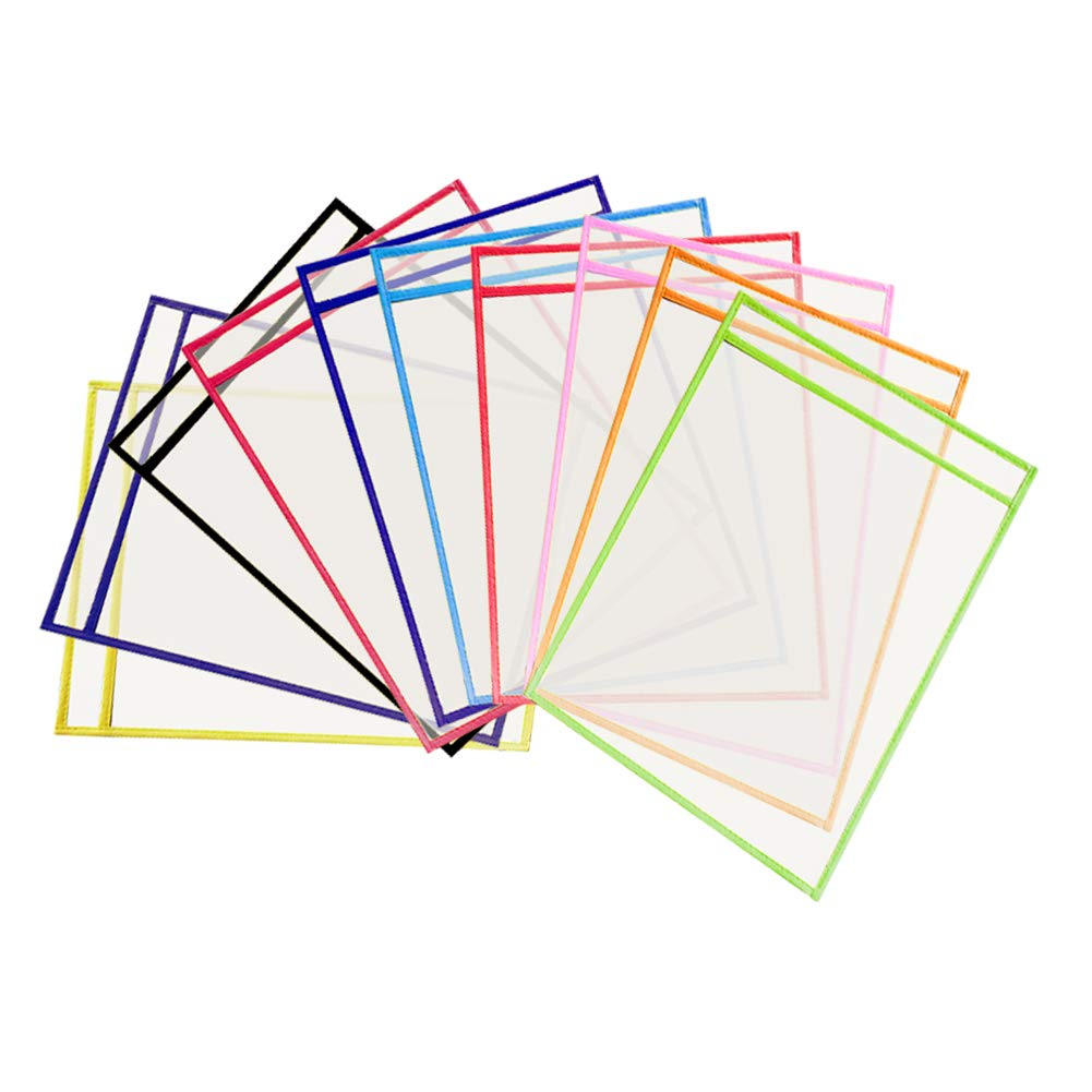 Dry Erase Pockets,10pcs Oversized 10x14 inches,Clear and Reusable Dry Erase Sheet Pockets Protectors,for Classroom Organization