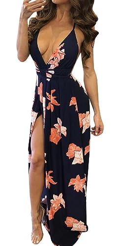 Bigyonger Women's Sexy Backless Halter Neck Vintage Floral Print Maxi Dress