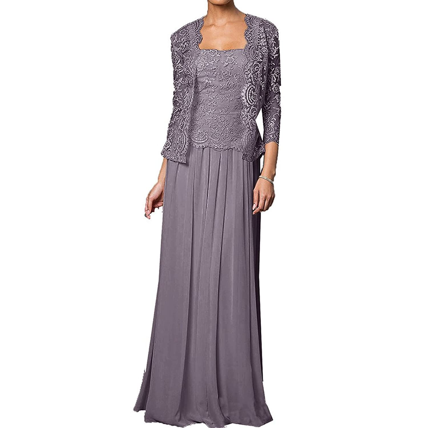 HWAN Mother of the Bride Dress Chiffon Long Formal Gowns with Lace Jacket