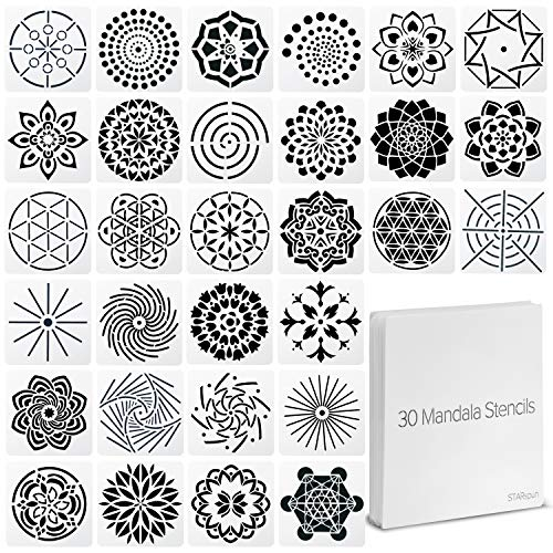 STARspun Art Stencils for Painting - 30 Piece Mandala Stencil Set 4x4 in Size - Great as Wall Stencil, Tile Stencil, Floor Stencil, Stencils for Painting on Canvas, Airbrush Stencils and More