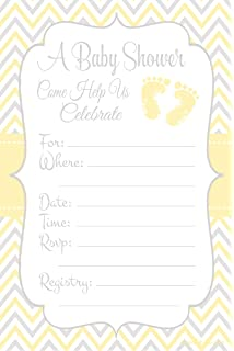 Amazon elephant baby shower invitations chevron stripes yellow baby feet gender neutral baby shower invitations fill in style 20 count filmwisefo Choice Image