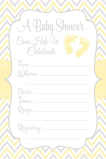 Yellow Baby Feet   Gender Neutral Baby Shower Invitations   Fill In Style  (20 Count
